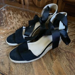 Just Fab Wedge ribbon tie shoes heels